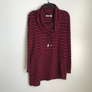 New Chico's Zenergy 1 Red Striped Asymmetrical Top